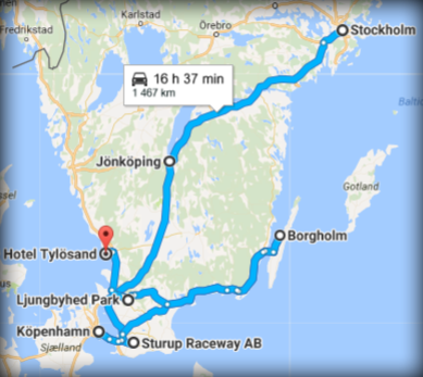 Route of Sweden 2017 map